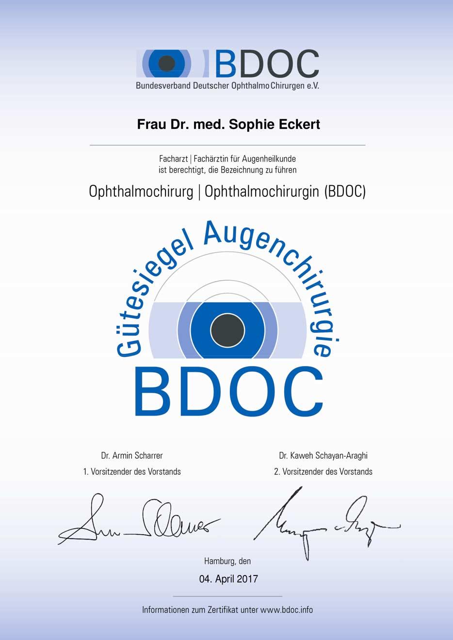 BDOC Gütesiegel Dr. S. Eckert