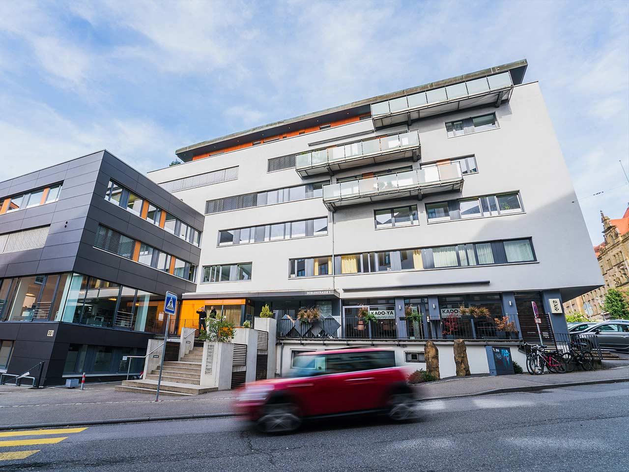 Aussenansicht des Praxisgebäude des Augenzentrum Eckert: Tübingen