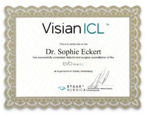 Visian ICL Zertifikat von Dr. Sophie Eckert