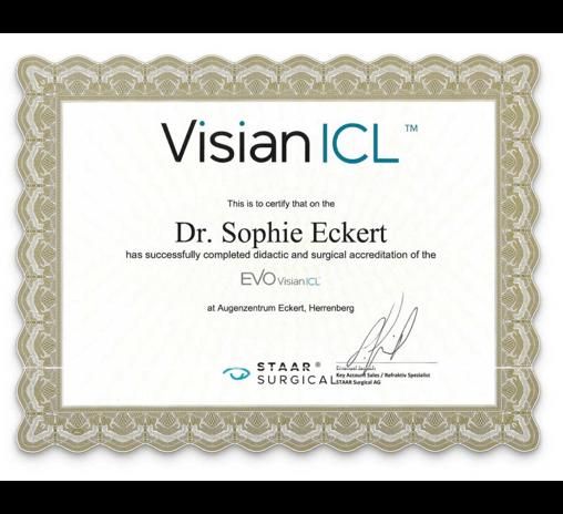 Visian ICL Zertifikat von Dr. Sophie Eckert -small image