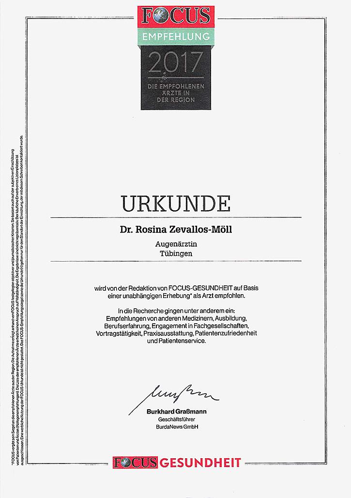 Focus Empfehlung: Dr. med. Rosina Zevallos-Möll