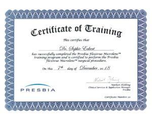 Presbia Flexivue Microlens Zertifikat von Dr. Sophie Eckert